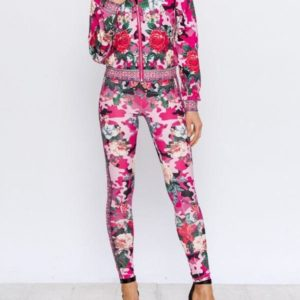 Pink Floral Track Suit